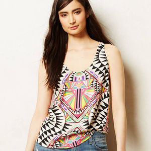 Anthropologie Cosmic Fountain Tank Top Abstract